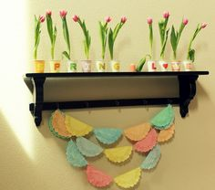 Very cute wall with paper doilies