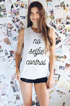 FUNNY TANK TOP - Selfie Tank - No Selfie Control Tank  Top - Funny Selfie Shirt - Funny Shirt - Funny Quote Shirt - Graphic Tee -Muscle Tank