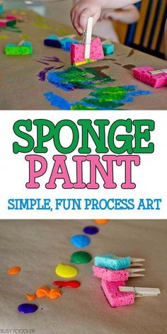 Sponge Painting Process Art: Super quick and easy toddler art activity; indoor a… Sponge Painting Process Art: Super quick and easy toddler art activity; fun process art for toddlers and preschoolers Toddlers And Preschoolers, Art Activities For Toddlers, Infant Activities, Art Projects For Toddlers, Arts And Crafts For Kids Toddlers, Art With Toddlers, Games For Preschoolers Indoor, Activities For 3 Year Olds, Playgroup Activities