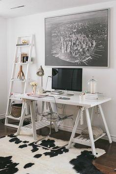 White, feminine home office