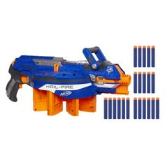 Nerf N-Strike Elite Hail-Fire Blaster (653569747178) Battle against your enemies with a hail-fire blaster by nerf. Its high-capacity ammunition rack includes 4 reloadable clips capable of holding 6 darts each, so you'll have ammo when you need it. The blaster features an acceleration trigger for semi-automatic fire power, allowing you to make an extended attack with little effort. Since it can reach targets up to 75' away, your enemies don't stand a chance of escape.