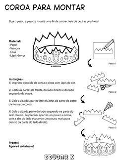 Educar X: Molde de coroas de reis e princesas