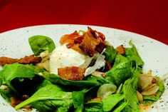 Spinach Salad with Bacon and Poached Organic Eggs