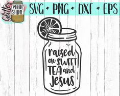 Raised On Sweet Tea and Jesus svg, .eps, dxf png Files and Designs for Silhouette Cameo and Cricut Explore Air Cutting Machines. Commercial Use License Included! ---- Cute SVG, Funny SVG, DIY, SVG Quote, SVG Sayings, Girl Designs, Pretty SVG, Southern Mom, Southern Girl, Bible and Religious Quotes, Christian Sayings, Jesus, God, Mom Life, Mama Bear, SVG Design, SVG File, Mug Design, Shirt Design, Cutting Designs, Cutting File, Cricut Air, Small Businesses