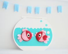 2 Felt Fish Magnets  2   EcoFriendly  Hot pink and by Mariapalito,