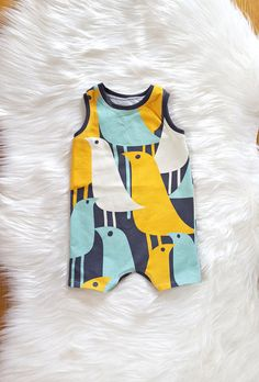For The Birds Summer Shorts Romper Baby Boy by brambleandbough