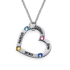 Birthstone Heart Necklace   MyNameNecklace