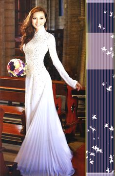 Modern white Vietnamese bridal wedding ao dai with long sleeves