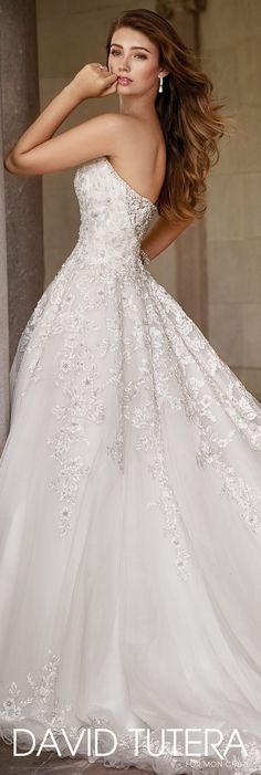 David Tutera for Mon Cheri Spring 2017 Collection - Style No. 117281 Zarina - strapless tulle ball gown wedding dress with lace appliqués