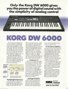 MATRIXSYNTH: 1985 KORG DW 6000 DIGITAL WAVEFORM SYNTHESIZER PIN...