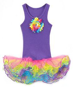 Girls Clothing, Purple Tank Top, Rainbow Flower, Girls Tutu, Girls Birthday, Dress Up, Rainbow Tutu, 2 piece Set, Girls Outfit,