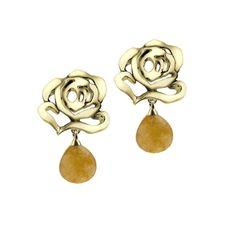 Rose Stud Earrings with Umbo Agate Drop