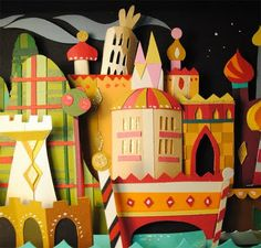 Paper crafts from Brittney Lee at the It's A Small World tribute show at Gallery Nucleus.
