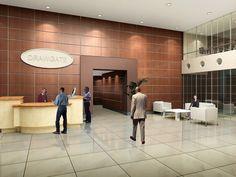 Modern office building lobby in marble glass and mahogany