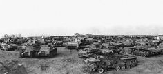 The wreckage of German armored vehicles, tanks, trucks, etc..