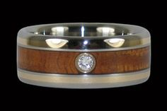 Gold inlay and tiger koa wood titanium ring with diamond