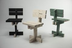 Hamaika kids' chair by Unai Rollan is assembled from 11 equal pieces Pallet Furniture, Furniture Projects, Kids Furniture, Furniture Design, Pine Wood Furniture, Restaurant Tables And Chairs, Cafe Chairs, Papasan Chair, Diy Chair