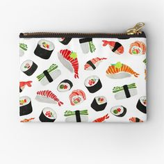 'Sushi Pattern' Zipper Pouch by amayabrydon Canvas Prints, Art Prints, Free Stickers, Gifts For Family, Zipper Pouch, Pouches, Sushi, Totes, Zip Around Wallet