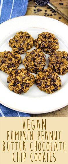 Pumpkin-Peanut Butter Chocolate Chip Cookies (Vegan & Gluten Free)