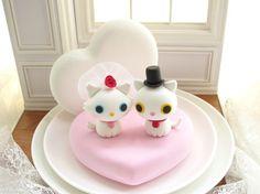 Wedding Cake Topper-love kitty,love cat with sweet heart base by kikuike.etsy