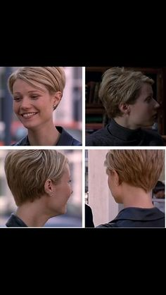 I LOVE this hairstyle! Gwyneth Paltrow cut her hair in 1997 for her role in the hit Movie Sliding Doors. The style was a modified pixie haircut that set the ball rolling for women all over the world to chop off their Rachel's. Popular Short Hairstyles, Cute Short Haircuts, Cute Hairstyles For Short Hair, Pixie Hairstyles, Short Hair Cuts, Short Hair Styles, Pixie Cuts, Haircut Short, Celebrity Hairstyles