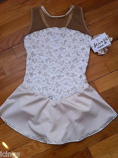 Icings Child's Large Cream Lace Competition Ice Figure Skating Dress | eBay