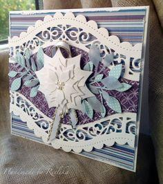 Christmas card...I used Spellbinders curved borders two, Spellbinders Poinsettia die, Memory Box Massa leaf die, some ribbon and ivory half pearls...made by Reelika :)