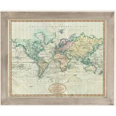 Adam Shaw Vintage World Map (1801) Art Print ($129) ❤ liked on Polyvore featuring home, home decor, wall art, vintage home decor, gray home decor, inspirational wall art, urban outfitters and map home decor