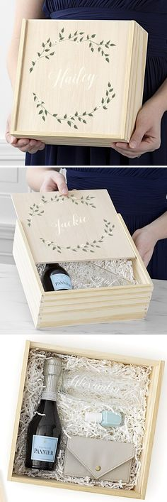 Bridesmaid Proposal - Ask her to be your bridesmaid with a personalized bridesmaid proposal box custom printed with her name. This wooden bridesmaid box includes a personalized stemless champagne flute and vegan leather card case for a personal note from you to her.