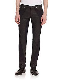Versace Collection Texture Block Coated Denim Jeans - Black - Size 30