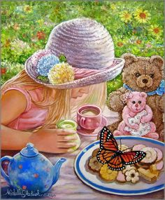 """tea party with teddies - Michelle Gladish """"Flutter-by Visitor"""".......!....m"""