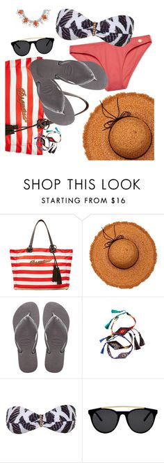 """remember the Summer"" by sanddollardubai ❤ liked on Polyvore featuring Dsquared2, La Fiorentina, Havaianas, Cat Hammill, ViX, Smoke & Mirrors and DANNIJO"