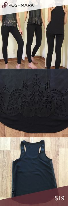 Faux Leather Laser-Cut Tank Top Good condition, as seen in pictures! Fast same or next day shipping! Open to offers but I don't negotiate in the comments so please use the offer button Andrée Tops Tank Tops
