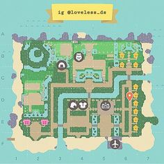 Animal Crossing Guide, Animal Crossing Villagers, Animal Crossing Qr Codes Clothes, Nintendo Switch Animal Crossing, Map Layout, Island Map, Digital Painting Tutorials, Island Design, Map Design
