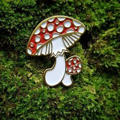 #Repost @wormwoodandruedesigns Fly Agaric (Amanita Muscaria) soft enamel pin now…