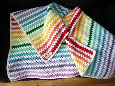Ravelry: mootheblue's Granny Stripe Rainbow Blanket; based on Lucy of Attic24's free Granny Stripe pattern.