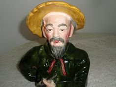 Retro Porcelain Japanese Man In yellow hat by SocialmarysTreasures, $14.00