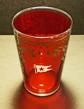 White Star Line, RMS Titanic, Cranberry Gold Inlay Glass, 1900's Style Replica.