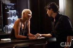 """""""The End of the Affair""""--Charmin Lee as Old Gloria and Ian Somerhalder as Damon on THE VAMPIRE DIARIES on The CW. Photo: Bob Mahoney/The CW ©2011 The CW Network. All Rights Reserved."""
