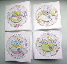 Little Spring Owls - Set of Four Mini Notecards £3.50