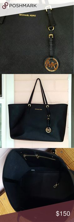 """MICHAEL KORS JET SET TOTE *black jet set tote *size large *bottom is 14.5"""" across  *top is 19"""" across *height is 11"""" tall *depth is 7"""" *good condition (has minor scuffs as seen in pic) *could possibly come out with cleaning *leather is soft and doesn't keep its shape when sitting *one interior panel is fuzzy (see last pic) *handles are still in great shape *comes from a smoke-FREE & pet-FREE home MICHAEL Michael Kors Bags Totes"""
