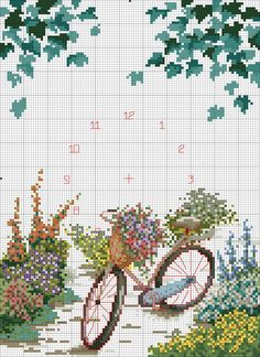 Cross-stitch Beautiful Flowers, part color chart on part Sandrinha Ponto Cruz Cross Stitch Heart, Cross Stitch Flowers, Cross Stitch Kits, Funny Cross Stitch Patterns, Cross Stitch Designs, Cross Stitching, Cross Stitch Embroidery, Cross Stitch Landscape, Stitch Book