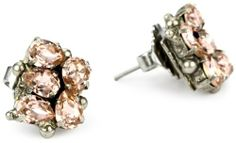 "Sorrelli ""French Blush"" Pear Crystal Cluster Stud Silvertone"