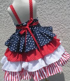 Custom Boutique Stars Stripes Navy Red White by hottotscoolkids2