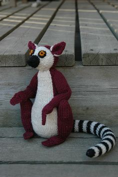 Hococo the Lemur by Alan Dart free knitting pattern - Hococo, the knitted lemur has been raising money to help save lives in Madagascar. Commissioned from internationally renowned knitted toy designer Alan Dart, the lemur pattern was given free to customers of a major shoe company, who were then encouraged to knit, sell or raffle the toy. Money raised is being sent direct to the Money for Madagascar charity and...  so far, ten babies and children have already received life-saving surgery.