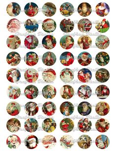 SANTA CLAUS 1 inch circle digital download Vintage CHRISTMAS  collage sheet for pendants, magnets, Bottle Caps, scrapping, craft supply.
