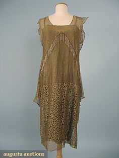 Beaded Gold Lace Dress, C. 1925, Augusta Auctions, October 2006 Vintage Clothing & Textile Auction, Lot 714