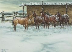 Horse Painting : Ron Stewart, Opaque Water Color, Signed, Familiar Voices, Vintage, 1978, Horses in Corral, Watercolor on Paper, #592