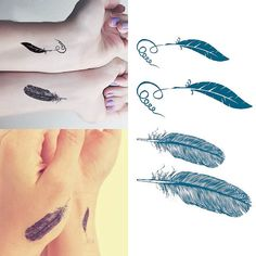 feather Temporary Tattoo4pcs in 1 SetNice Temporary by NiceTatoos