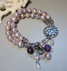 Multistrand Natural Lilac Purple freshwater Pearl Amethyst Charm Bracelet
